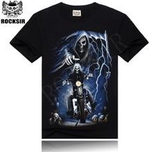 YIWU 2015 OEM ROCKSIR Ghost Rider organic cotton t-shirt sewing machine price boys t-shirt