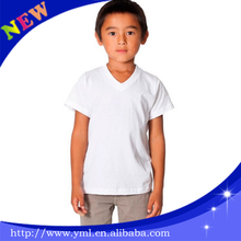 hot seller kids clothing custom kids plain white v neck underware t shirt