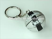 China mini 4cm diameter plastic silver basketball keychain