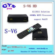 Original DVB-S2 tv receiver S-V6 Mini Digital Satellite Receiver S V6 with WEBTV function