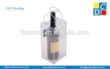 Good quality transparent PVC wine bag, single bottle clear pvc bag, pvc wine cooler bag