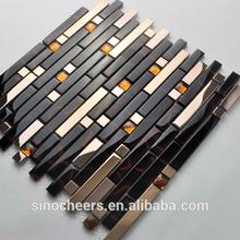 Strips glass mix stainless steel/metallic mix crystal diamond mosaic tiles
