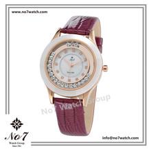 Alloy case Rose Gold ion Plated Ceramic Rim ladies quartz watch