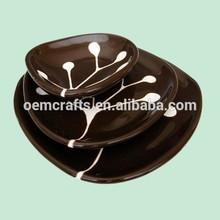 White Branch on Dark Chocolate Brown Ceramic Dishes