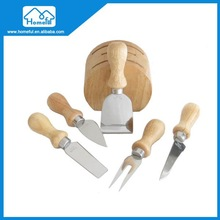 5PC Stainless steel cheese knife with wood holder