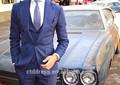 2015 novo estilo um grande botão de lapela personalizados, adaptados azul homens terno de trilha