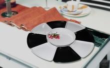 High grade white and black melamine ware stock platter