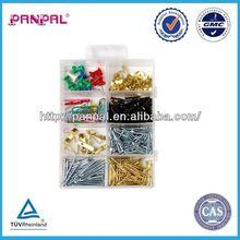 BV approved china supplier 300pcs hardware assortment used for daily life tack nail, paper clip push pin color, nails