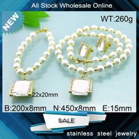 modern design square charm crystal jewelry set pearls pearl jewelry