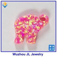New Shape Pink Elephant Shape Synthetic Fire Opal Pendant