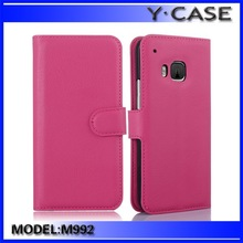 Hottest Custom PU Leather Cover Wallet Stand Case for HTC ONE M9