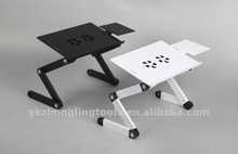 Adjustable height Bedroom folding Aluminum laptop stand with mouse pad