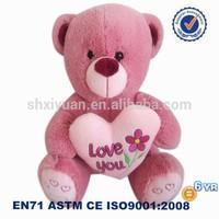 Cute custom logo plush bears pink teddy bear pictures with heart