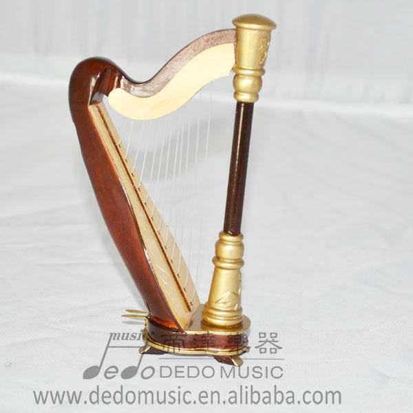 Mini instrumentos musicais de madeira, mini musical de madeira harpa