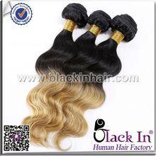 Colored Two Tone Brazilian Human Hair Weave long human hair ponytail