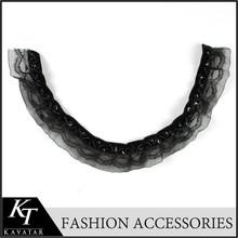 Ladies elegant neck design beaded trim in black lace