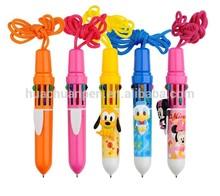 novelty cartoon multicolor pen with lanyard