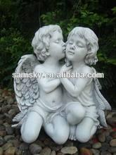 garden outdoor boy ang girl stone sculpture