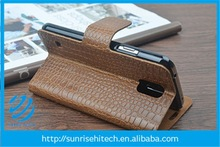 Khaki color crocodil pattern for sony xperia Z3, stand wallet leather case for sony xperia Z3