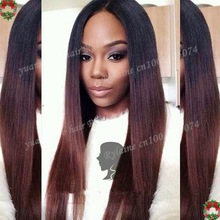 Top 6a quality 1bT4# peruvian ombre colored human hair silk straight two toned front lace wigs