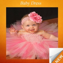 Pink tulle infant skirts flower headbands for girls fluffy dresses SFUBD-389