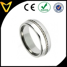 Mens Titanium Wedding Band Wholesale, Titanium Wedding Band Ring 8MM with Grooved Braided Sterling Silver Inlay