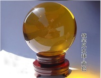 Hot Sale New Arrival 40mm Noble yellow Asian Quartz feng shui ball Crystal Ball Sphere For Home Decoration