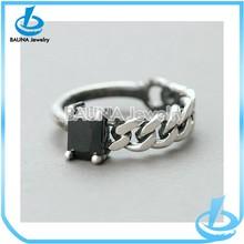 Oxidized Black Pointed Asymmetric chain ring