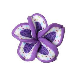 "Polymer Clay Cabochon Flower Purple Dot Pattern 18mm x18mm( 6/8"" x 6/8"") - 15mm x15mm( 5/8"" x 5/8""), 50 PCs"