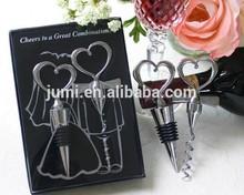 heart shape bottle stopper and opener set best wedding favors