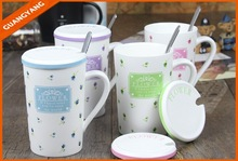 Plain white color with colorful decal custom design ceramic porcelain mugs with spoon