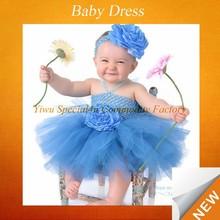 Cute baby toddler skirts blue tulle flower headbands children fancy dress SFUBD-409