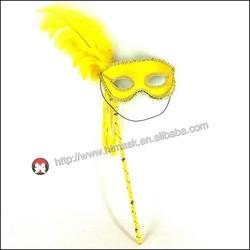 feather masquerade mask Mask/Silver Trim + Feathers On Stick, MASQUERADE EYE MASK, MASKED BALL