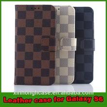 For Samsung Galaxy S6 Pu Case,Gird Pattern PU Leather Case For Galaxy S6 edge,For S6 Edge Wallet Leather Case