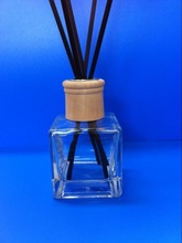 Home fragrance reed diffuser 120ml square glass bottle with wooden lid