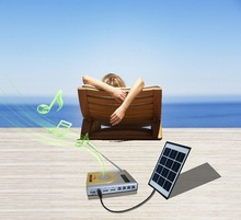 4W solar panel 1W LED light portable mini solar panel for led light with radio ,MP3 player for home use