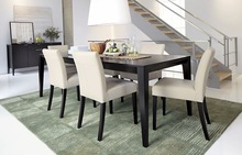 dark wooden expandable dining table set made in china DT4013