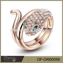 Hot 15 years factory sell fashion beautiful cheap gold snake ring,silver snake ring,fake 18k snake ring