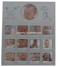 Fashion Design Aluminum baby 12 month photo frame