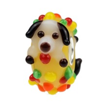 Wholesale Happy Pet Puppy Dog Murano Glass Bead with 925 Sterling Silver Tube For European Bracelets