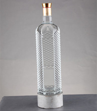 High end vodka,water, whisky,olive oil large glass bottles with corks