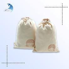 Custom Design Organic Cotton Drawstring Pouch, Muslin Drawstring Pouch