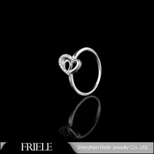 Everlasting Love plating 925 silver ring,2015hollow wedding ring with heart imprint
