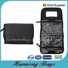 Black microfiber folding cosmetic toiletry bag