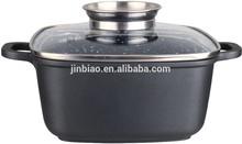 28cm casting aluminum granite marble square pots with Aroma knob