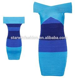 wholesale woman boutique cheap off shoulder graceful mature bandage dress