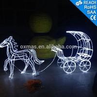 3D LED Christmas Deer Decoration 3D LED Christmas The Horse Drawn Vehicle Decoration Light 1.2m Fancy Motif Light