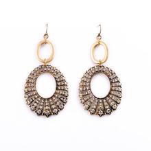 Fashion Women Dangle Rhinestone Big Hoop Earrings
