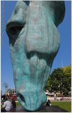 Antique metal brass horse feeding sculpture