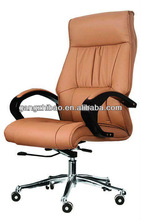 high back swivel big executive leather chair with solid wood armrest AB-124